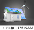 3d illustration of solar and wind energy and house 47619888