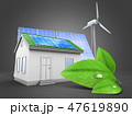 3d illustration of house  with  green leaf 47619890