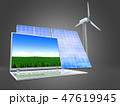 3d illustration of solar and wind energy  47619945