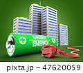 3d illustration of battery  with city 47620059