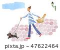 犬 散歩 女性のイラスト 47622464