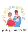 子育て 教育資金 イメージ イラスト 手描きアイコン 47627086
