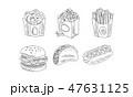 ファストフード ファーストフード ポップコーンのイラスト 47631125