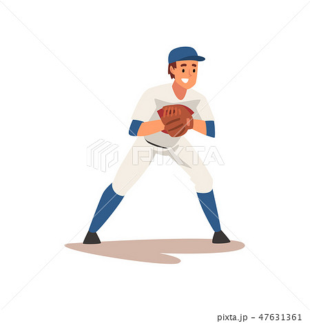 Catcher Waiting for Ball, Baseball Player Character in Uniform Vector Illustration 47631361