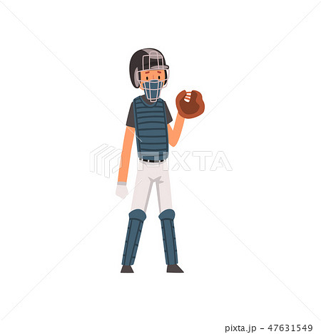 Catcher Baseball Player Character in Uniform and Outfield Glove Vector Illustration 47631549