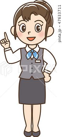 ビジネス 制服 女性 指さし 47633711