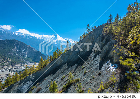 Rocky mountains in the Himalayas, Nepal. 47635486