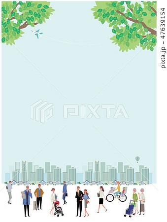 新緑 町と人々 町並み イラスト デザイン 47639154