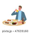 暴飲暴食をする 男性 イラスト 47639160