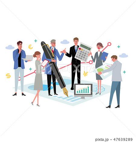 ビジネスコンセプト イラスト チームワーク 会議 プロフェッショナル 47639289