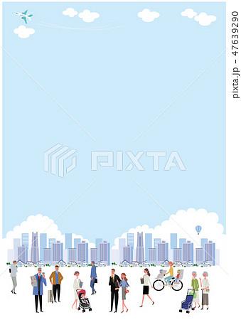 町と人々 町並み イラスト ポスター デザイン 47639290