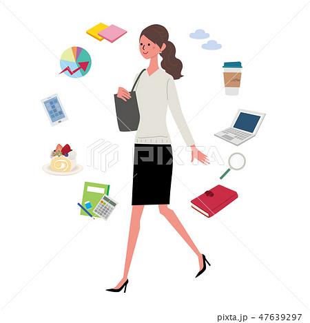 働く女性 イラスト ビジネスアイコン 47639297