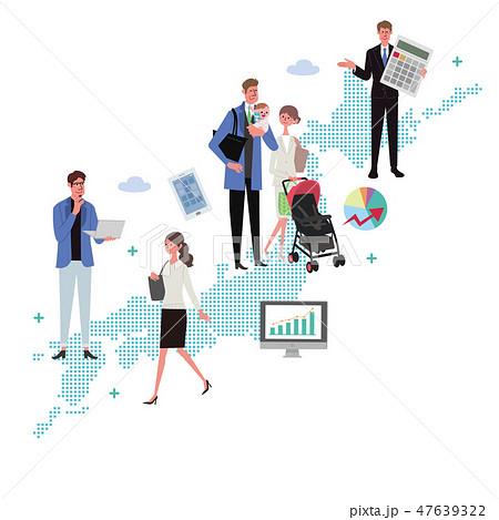 働く人々 日本 働き方改革 イラスト 47639322