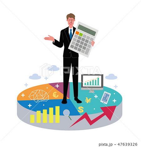 ビジネスマン グラフ 電卓 イラスト 47639326