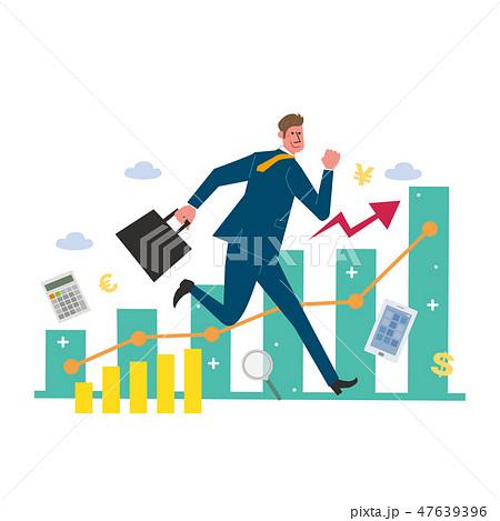 ビジネスコンセプト ビジネスマン グラフ イラスト 47639396