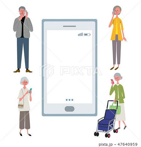スマートフォン シニア 人々 イラスト 47640959