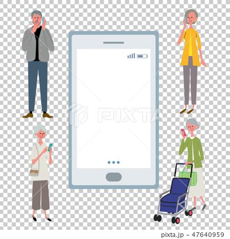 智能手機資深人例證 47640959