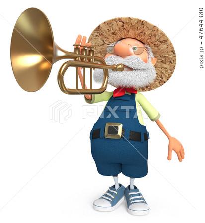 cheerful farmer plays the trumpet 47644380