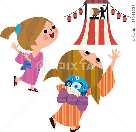 盆踊りをする子ども 47645657