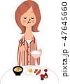 朝食 女性 和食のイラスト 47645660
