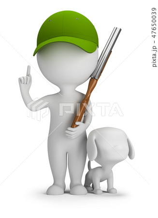 3d small people - hunter with a gun and a dog 47650039