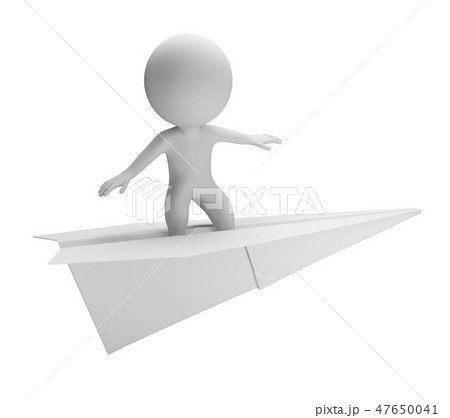 3d small people - flying on a paper plane 47650041
