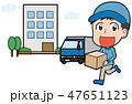男性作業員とトラックのイラスト素材(集合住宅) 47651123