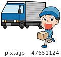 男性作業員とトラックのイラスト素材 47651124