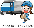 女性作業員とトラックのイラスト素材 47651126