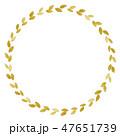 葉っぱのフレーム 水彩 黄色 丸 47651739