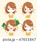 アレルギー 花粉症 お面のイラスト 47653847