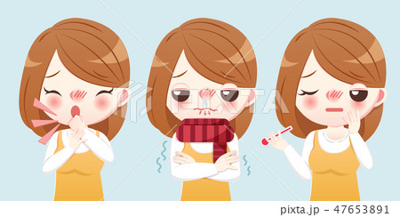cartoon girl sick 47653891