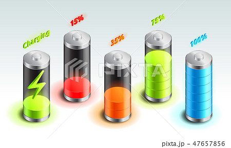 Set of battery charge isometric icon, accumulator indicator, from full charge to discharged 47657856
