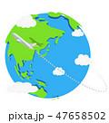海外旅行 飛行機 地球のイラスト 47658502