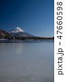 富士山と凍結した精進湖 47660598