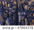 都会の夜景 都市 高層ビル群  CG  イラスト 47664378