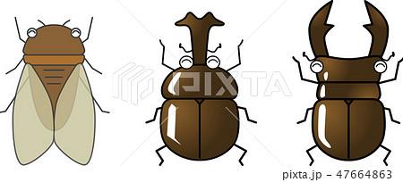 かわいい昆虫セットクワガタカブトムシセミベクターのイラスト