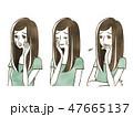 女性 表情 人物のイラスト 47665137