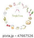 水彩イラスト 手描き 食べ物 フレーム 47667526