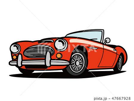 ヒストリックオープンカー 赤色 自動車イラスト 47667928