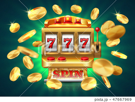 Casino slot machine. 777 jackpot, winning game lottery background, flying golden coins. Vector 47667969