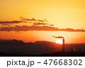 夕日 煙突 風景の写真 47668302