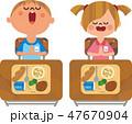 給食を食べる子どもたち 47670904