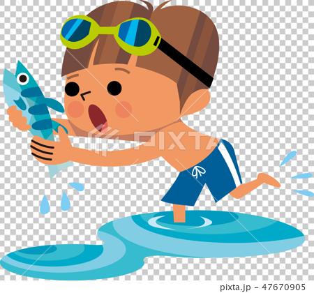 魚を捕まえる少年のイラスト素材 [47670905] - PIXTA