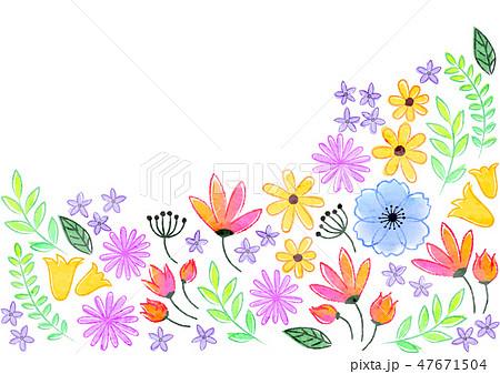花の背景素材 手書き風のイラスト素材