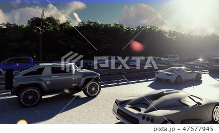 Heavy traffic in the city during the day. Cars entering the city in the morning. 3D Rendering 47677945