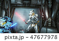 Astronauts with laser swords hid in an ambush on an alien robot invader on his spaceship. Super 47677978