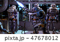 The astronauts in the dashboard of the spaceship, past the soldiers ran in pursuit of the alien 47678012
