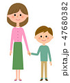 笑顔 お母さん 手をつなぐのイラスト 47680382