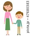 笑顔 お母さん 手をつなぐのイラスト 47680383